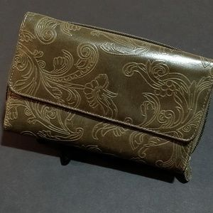 Handbags - * Olive Green Embossed Wallet